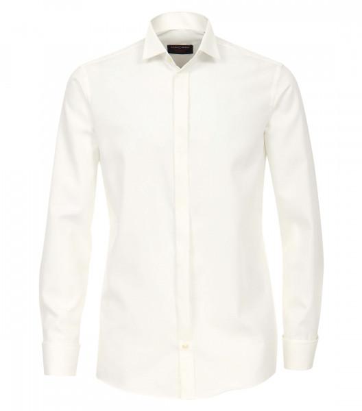 CASAMODA Hemd COMFORT FIT UNI POPELINE beige mit Kläppchen Kragen in klassischer Schnittform