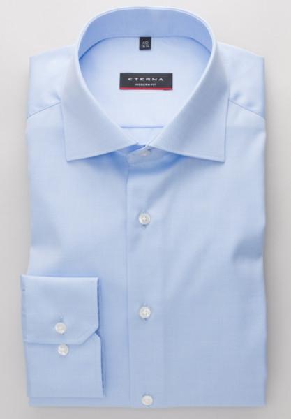 Eterna Hemd MODERN FIT TWILL hellblau mit Classic Kent Kragen in klassischer Schnittform