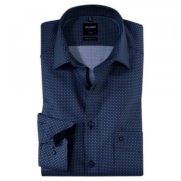OLYMP Luxor modern fit Hemd PRINT dunkelblau mit New Kent Kragen in moderner Schnittform