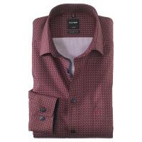 OLYMP Luxor modern fit Hemd PRINT rot mit New Kent Kragen in moderner Schnittform