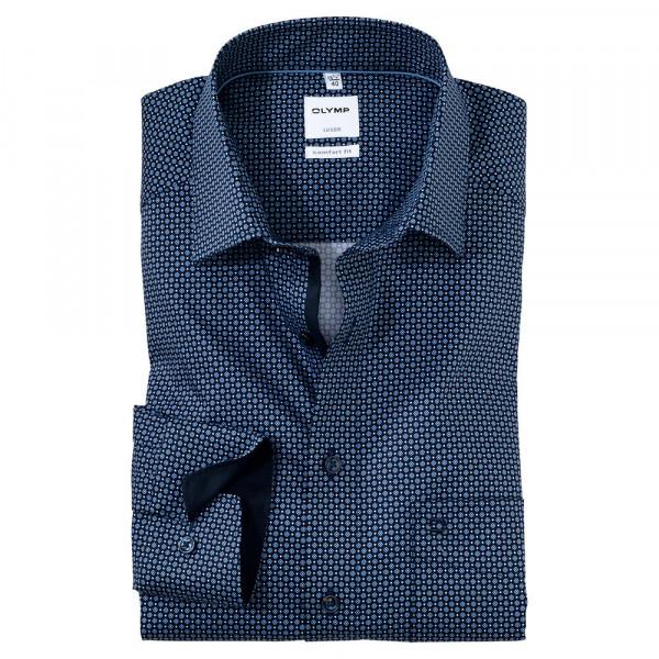 OLYMP Luxor comfort fit Hemd PRINT dunkelblau mit New Kent Kragen in klassischer Schnittform