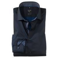 OLYMP No. Six super slim Hemd UNI POPELINE dunkelblau mit Royal Kent Kragen in super schmaler Schnittform