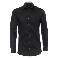 Venti Hemd BODY FIT TWILL schwarz mit Kent Kragen in schmaler Schnittform