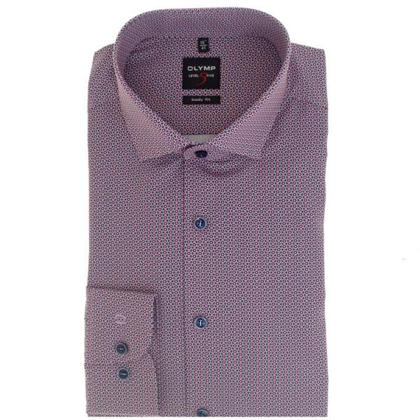 OLYMP Level Five body fit Hemd PRINT rosa mit Global Kent Kragen in schmaler Schnittform