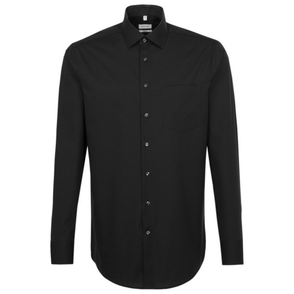Seidensticker REGULAR Hemd UNI POPELINE schwarz mit Business Kent Kragen in moderner Schnittform
