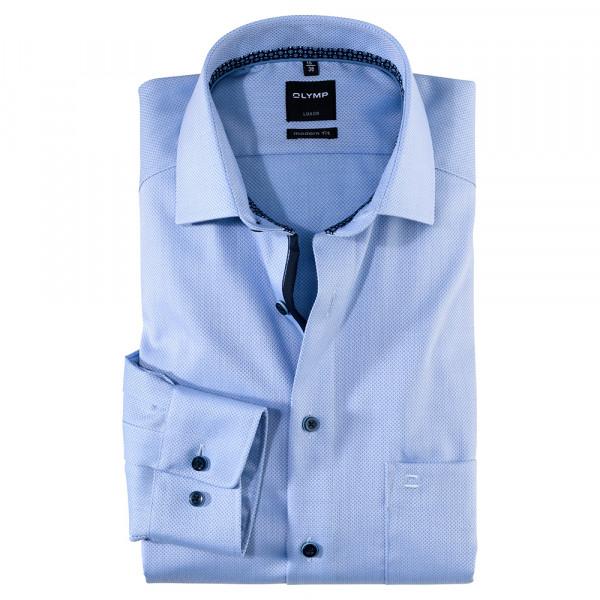 OLYMP Luxor modern fit Hemd STRUKTUR hellblau mit Global Kent Kragen in moderner Schnittform