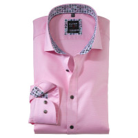 OLYMP Level Five body fit Hemd STRUKTUR rosa mit Royal Kent Kragen in schmaler Schnittform