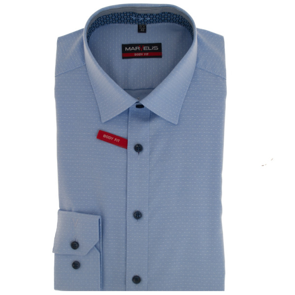 Marvelis BODY FIT Hemd PRINT hellblau mit New York Kent Kragen in schmaler Schnittform
