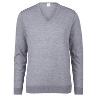 OLYMP Level Five Strick Pullover grau in schmaler Schnittform