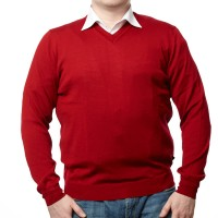 Olymp Pullover in rot mit V-Ausschnitt