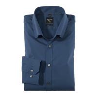OLYMP No. Six super slim Hemd UNI POPELINE blau mit Under Button Down Kragen in super schmaler Schnittform