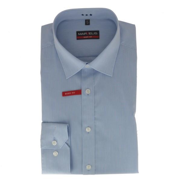 Marvelis BODY FIT Hemd MILLE RAYÈ hellblau mit New York Kent Kragen in schmaler Schnittform