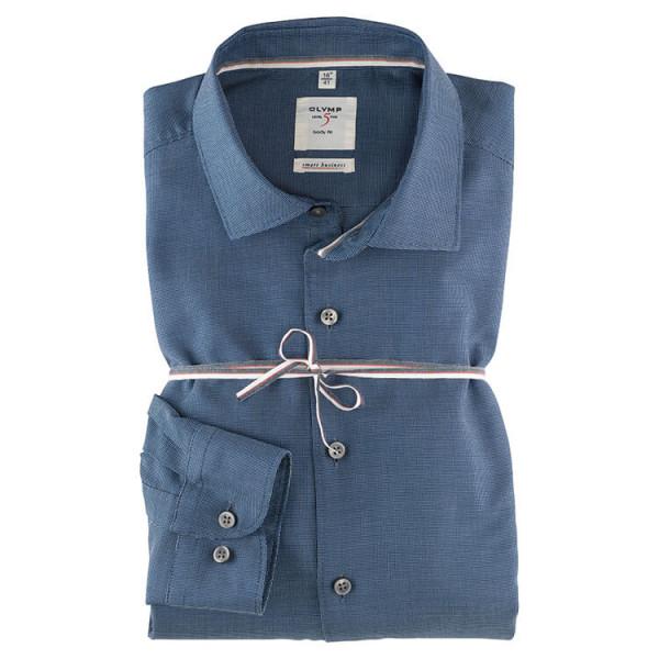OLYMP Level Five Smart Business body fit Hemd STRUKTUR dunkelblau mit Kent Kragen in schmaler Schnittform