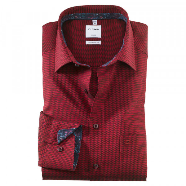OLYMP Luxor comfort fit Hemd STRUKTUR dunkelrot mit New Kent Kragen in klassischer Schnittform
