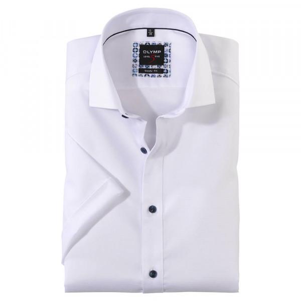 OLYMP Level Five body fit Hemd STRUKTUR weiss mit Royal Kent Kragen in schmaler Schnittform