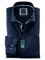 Olymp Hemd LEVEL 5 TWILL dunkelblau mit Royal Kent Kragen in schmaler Schnittform