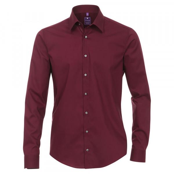 Redmond SLIM FIT Hemd UNI POPELINE dunkelrot mit Kent Kragen in schmaler Schnittform