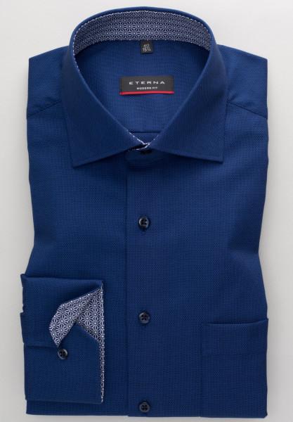Eterna Hemd MODERN FIT STRUKTUR dunkelblau mit Classic Kent Kragen in moderner Schnittform