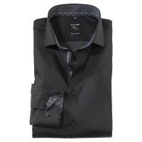 OLYMP No. Six super slim Hemd UNI POPELINE schwarz mit Royal Kent Kragen in super schmaler Schnittform