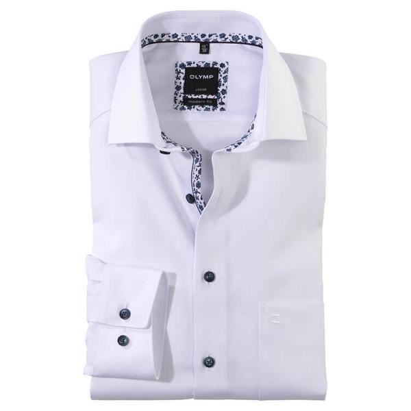 OLYMP Luxor modern fit Hemd TWILL weiss mit Global Kent Kragen in moderner Schnittform