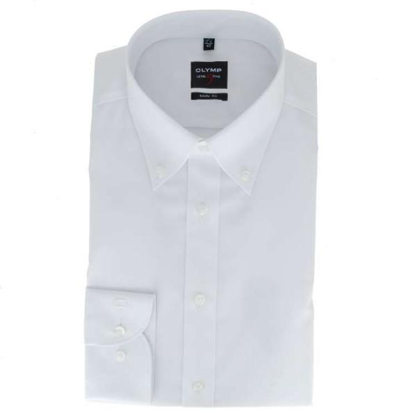 OLYMP Level Five body fit Hemd UNI POPELINE weiss mit Button Down Kragen in schmaler Schnittform