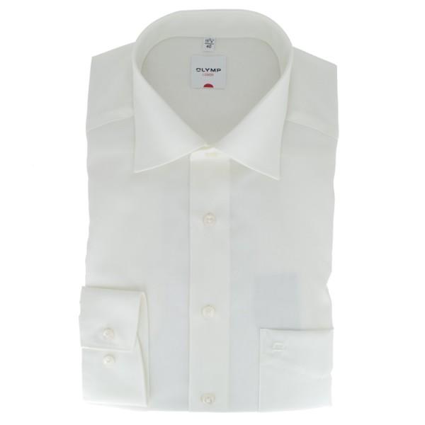 OLYMP Luxor comfort fit Hemd UNI POPELINE beige mit New Kent Kragen in klassischer Schnittform