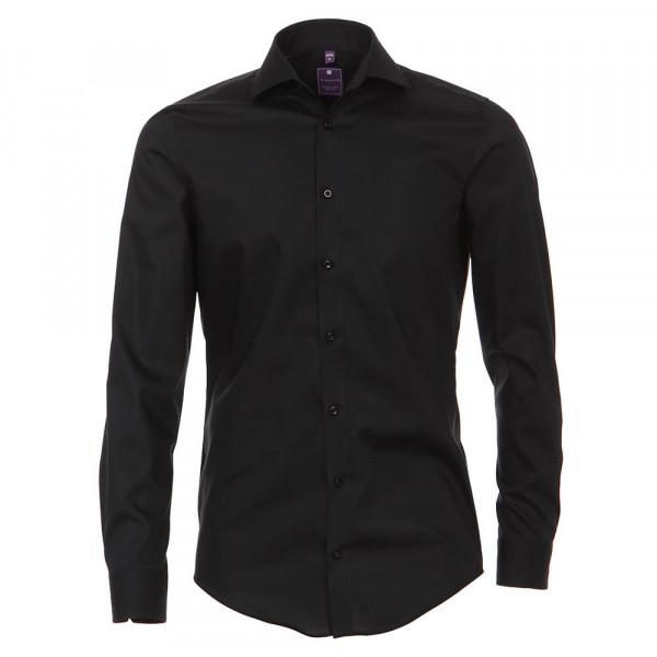 Redmond SLIM FIT Hemd UNI STRETCH schwarz mit Kent Kragen in schmaler Schnittform