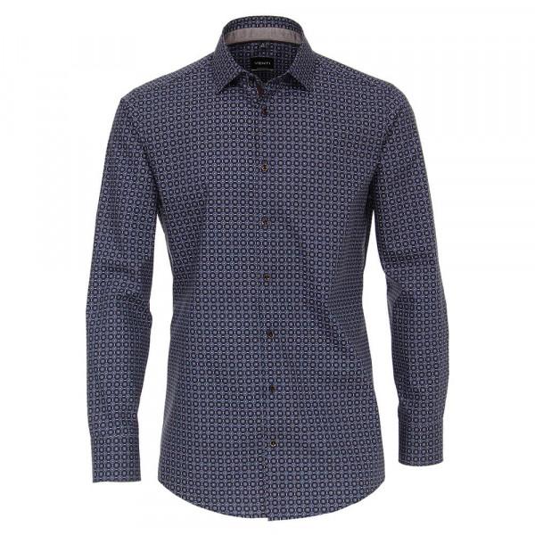 Venti Hemd MODERN FIT PRINT dunkelblau mit Kent Kragen in moderner Schnittform