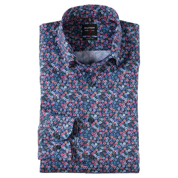OLYMP Level Five body fit Hemd PRINT dunkelblau mit Under Button Down Kragen in schmaler Schnittform