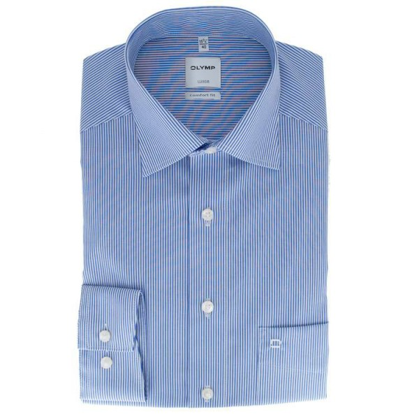olymp luxor comfort fit hemd dunkelblau gestreift 027064 15 feine hemden. Black Bedroom Furniture Sets. Home Design Ideas