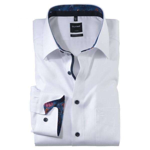 OLYMP Luxor modern fit Hemd STRUKTUR weiss mit New Kent Kragen in moderner Schnittform