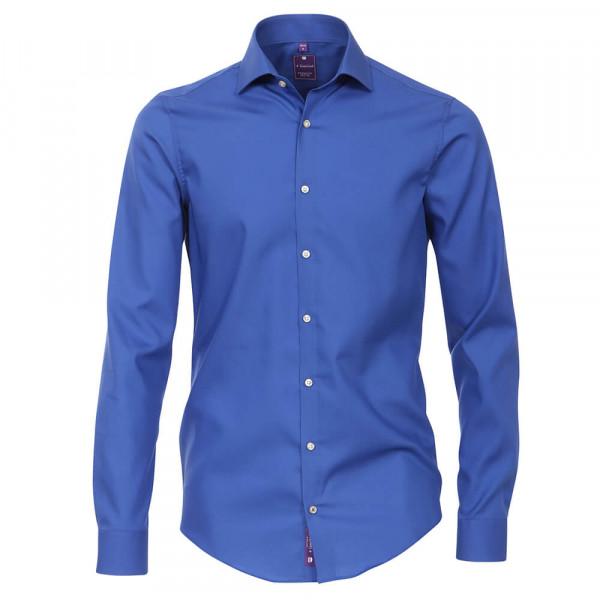Redmond SLIM FIT Hemd UNI STRETCH mittelblau mit Kent Kragen in schmaler Schnittform