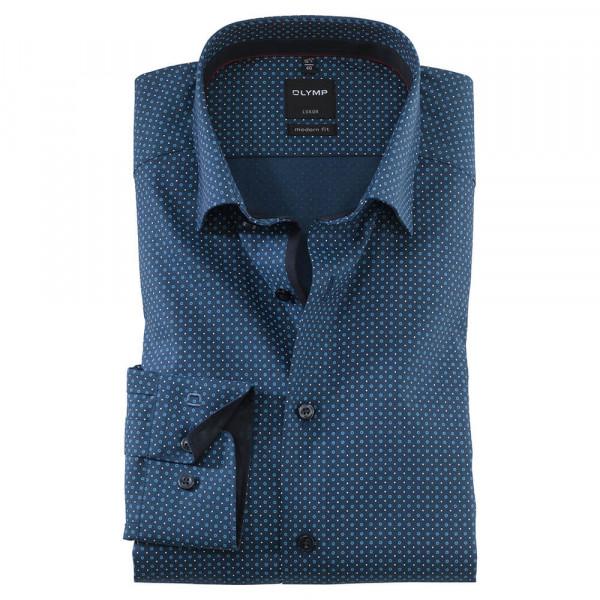 OLYMP Luxor modern fit Hemd PRINT dunkelblau mit Under Button Down Kragen in moderner Schnittform