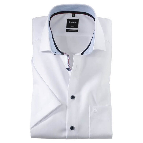OLYMP Luxor modern fit Hemd UNI POPELINE weiss mit Global Kent Kragen in moderner Schnittform