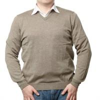Olymp Pullover in beige mit V-Ausschnitt