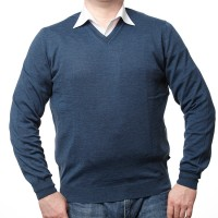 Olymp Pullover in blau mit V-Ausschnitt