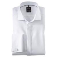 OLYMP Level Five soirée body fit Hemd FAUX UNI weiss mit Royal Kent Kragen in schmaler Schnittform