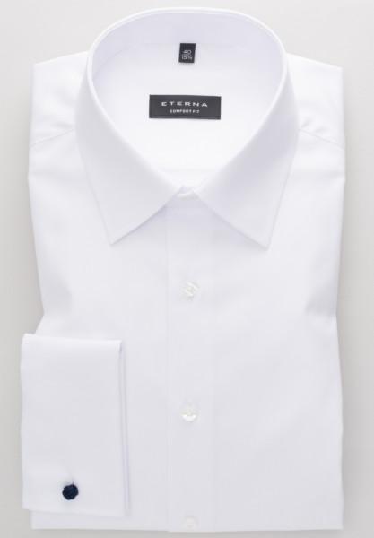 Eterna Hemd COMFORT FIT TWILL weiss mit Basic Kent Kragen in klassischer Schnittform