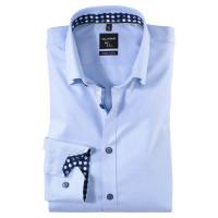 OLYMP No. Six super slim Hemd STRUKTUR hellblau mit Under Button Down Kragen in super schmaler Schnittform