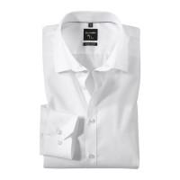 OLYMP No. Six super slim Hemd UNI POPELINE weiss mit Urban Kent Kragen in super schmaler Schnittform