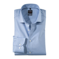 OLYMP Level Five body fit Hemd TWILL hellblau mit Royal Kent Kragen in schmaler Schnittform