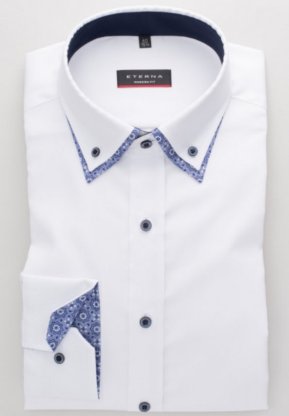 Eterna Hemd MODERN FIT FEIN OXFORD weiss mit Doppel Button Down Kragen in moderner Schnittform
