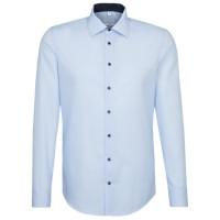 Seidensticker SHAPED Hemd UNI POPELINE hellblau mit Business Kent Kragen in moderner Schnittform