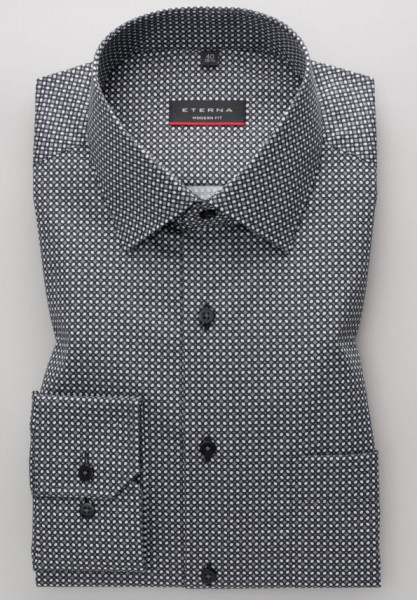 Eterna Hemd MODERN FIT PRINT schwarz mit Modern Kent Kragen in moderner Schnittform