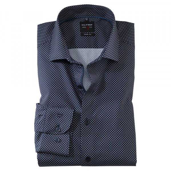 OLYMP Level Five body fit Hemd PRINT dunkelblau mit Royal Kent Kragen in schmaler Schnittform
