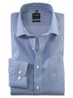 Olymp Hemd MODERN FIT TWILL STREIFEN dunkelblau mit Global Kent Kragen in moderner Schnittform