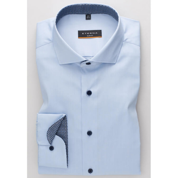 Eterna Hemd SLIM FIT UNI STRETCH hellblau mit Hai Kragen in schmaler Schnittform