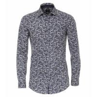 Venti Hemd BODY FIT PRINT dunkelblau mit Kent Kragen in schmaler Schnittform