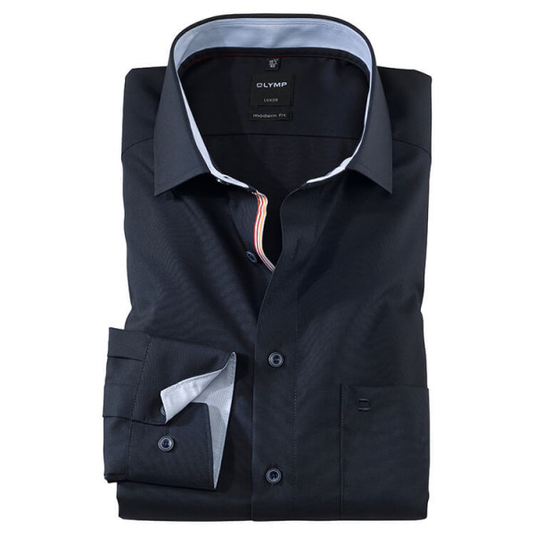 OLYMP Luxor modern fit Hemd UNI POPELINE dunkelblau mit Global Kent Kragen in moderner Schnittform