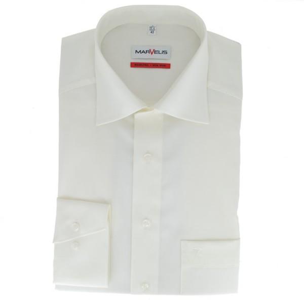 Marvelis COMFORT FIT Hemd UNI POPELINE beige mit New Kent Kragen in klassischer Schnittform